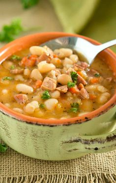 Hearty, starchy, and filling, this rustic Ham White Bean Soup is the epitome of comfort food. Great way to use leftover ham. via @NeliHoward