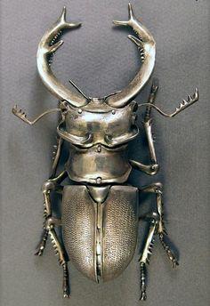 Stag beetle brooch - no artist info