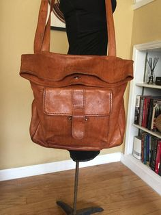 Vintage Italy Handcrafted Cognac Brown Leather Saddle Bag //