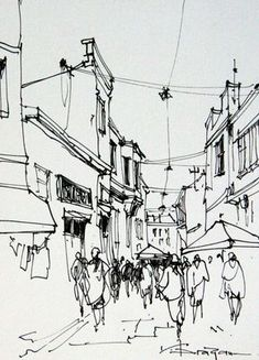 Watercolor Art City Drawings Ideas For 2019 Cityscape Drawing, City Drawing, Drawing Sketches, Painting & Drawing, Art Drawings, Pen Sketch, Landscape Sketch, Landscape Drawings, Landscape Design