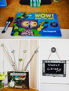 Use an owl picture book as a place to record gifts and have guests sign in.