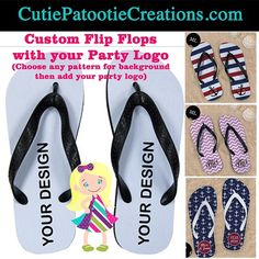 Amazing Party Favor Giveaway for any Bar or Bat Mitzvah, Wedding, Sweet 16 or Bachelorette Party. Full color flip flops with any pattern background as well as your full color party logo. No slip grip is perfect for dancing. Personalized Designs by CutiePatootieCreations.com