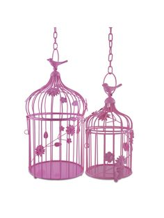 Hot Pink Bird Cage With Fl Vine Set Of 2 Hanging Chain