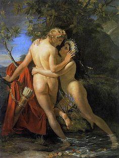 Согласно произведению греческого поэта Овидия «Метаморфозы», во времена, когда Боги еще вмешивались в судьбы людей, Гермафродит — сын Гермеса и Афродиты — был скромный юноша необычайной красоты. В возрасте 15 лет он отправляется странствовать и, однажды, во время отдыха возбудил любовь с первого взгляда и страстные желания у нимфы Самалкиды. Но её мольбы о взаимности не нашли отклика у юноши, а только испугали его. Воспользовавшись купанием златокудрого красавца, нимфа обвила его своим телом…