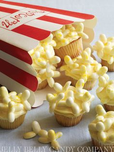Movie Popcorn Cupcakes by Karen Tack & Alan Richardson. Throw a viewing party with these cute cupcakes using our very own Buttered Popcorn Jelly Belly jelly beans. #baking #popcorn #cupcakes Credit: whatsnewcupcake (Karen Tack and Alan Richardson, authors of Hello, Cupcake!)