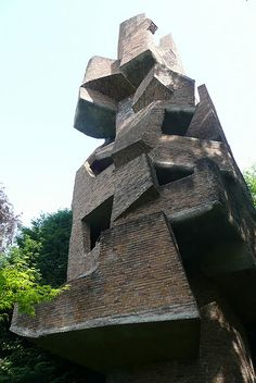 vertical labyrinths (built 1964, Meudon, France). By artist/architect/ sculptor André Bloc.