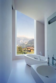 Martinho Les Neyres Residence / Bonnard Woeffray Architectes - view from bathroom.
