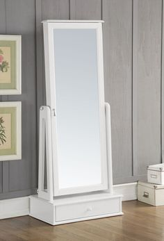 A&J Homes Studio Traci Free standing Jewelry Armoire with Mirror Ikea Mirror, Storage Mirror, Dresser With Mirror, Tall Cabinet Storage, Mirrors, Mirror Jewelry Armoire, Master Bedroom Closet, Bedroom Closets, Floor Mirror