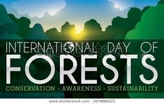 Banner with beautiful view of a calm sunset in tranquil grove during International Day of Forests with some precepts: conservation, awareness and sustainability. Forest Conservation, International Day, Forests, Sustainability, Royalty Free Stock Photos, Banner, Calm, Sunset, Illustration
