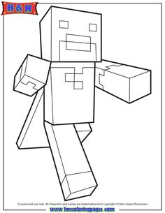 Running Minecraft Character With Cape Coloring Page More Information Free Printable Pages