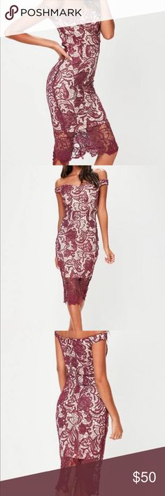 Purple/Burgundy Lace Bardot Midi Dress Worn only once for a few hours. Looks brand new, dry cleaned. Missguided Dresses Midi