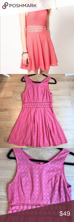 Free People Pink Lace Daisy Skater Dress Such a playful lacy dress! Dress is fully lined except for the daisy mesh part around the middle. Dress is in perfect condition! Please see measurements in photos. Free People Dresses Mini