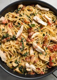 Loaded with sautéed chicken breasts and crispy bacon, this hearty spaghetti recipe will please even the pickiest eaters. Get the recipe from Delish.