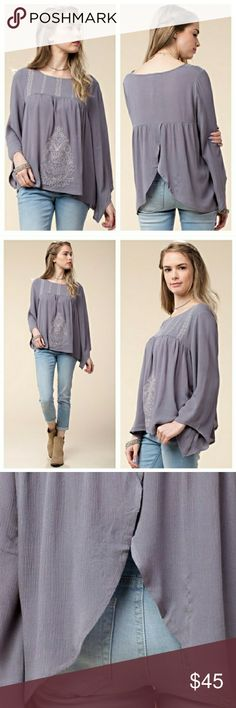 Emroidered top Color: grey  Size: S 2/4 M 6/8 L 10/12  True to size Tops Tees - Long Sleeve