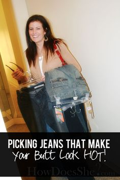How to pick the right jeans for your specific butt type! :) She talks about waist height, pocket designs, pocket placement, stitching colors, fabric content and more! Such a great post to pin and come back to! #jeans#shopping