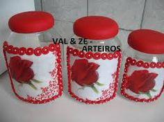Resultado de imagem para potes de cozinha decorados em biscuit