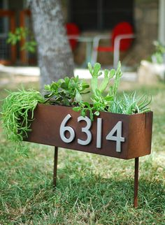 "6"" X 20"" Rust Patina Address Plaque & Planter On Stakes With (4) Brushed…"