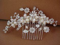 Vine and floral fresh water pearl hair comb by ALBridalAccessories