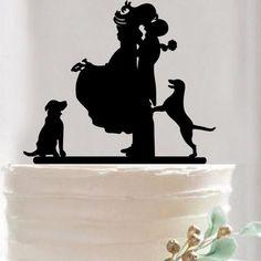 Wedding Cake Topper -Anniversary Cake Decoration (Bride Groom & Dog Pet)