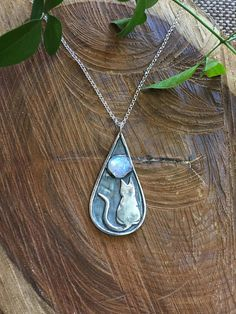 Cat under the moon pendant cat moon silver pendant cat