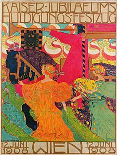 """ein-bleistift-und-radiergummi: """" Ferdinand Ludwig Graf, Plakat zum »Kaiser-Jubiläums- Huldigungs-Festzug«, 1908 © Leopold Museum, Wien. """""""