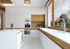 cuisine moderne bois chêne avec un lavabo et plan de travail en blanc