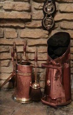 Our coal scuttle and companion set.