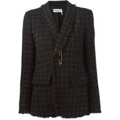 Sonia Rykiel Safety Pin Detail Tweed Blazer ($1,880) ❤ liked on Polyvore featuring outerwear, jackets, blazers, grey, gray jacket, grey blazer, tweed jacket, grey tweed jacket and gray tweed blazer