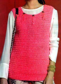 tejidos artesanales en crochet: chaleco largo especial para principiantes