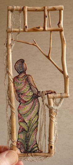 Ágnes Herczeg needle lace artist, her embroidery is exquisite as well. Sculpture Textile, Textile Art, Weaving Art, Loom Weaving, Needle Lace, Bobbin Lace, Arte Linear, Lace Weave, Lace Art
