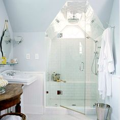 Small-Space Shower - add the salvaged round attic window to this shower and it's perfect