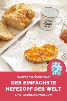 Wetten, dass du alle Zutaten für diesen einfachen Hefezopf zu Hause hast? Den Germzopf kannst du schnell und einfach backen, egal ob mit Trockenhefe oder normaler Hefe. Du bekommst von mir eine Gelinggarantie!   #einerschreitimmer #rezepte #Österreich #familienküche #kochemitKindern  #Mehlspeisen #süßspeisen #germzopf #hefezopf Baked Rolls, French Toast, Baking, Breakfast, Kid Cooking, Finger Food, Just Bake, Basteln, Breakfast Snacks