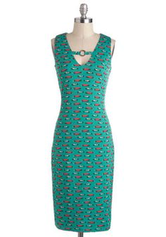 Haute Rod Dress, #ModCloth a bit too 'dippy', but we could easily fix it with a snippet of matching frilly fabric!