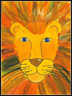 Welcome to Plateau Art Studio, view students art projects from elementary grade levels. Get ideas and share your thoughts. Lion King Art, Lion Art, Art Projects For Adults, School Art Projects, African Art Projects, Lion Painting, Finger Painting, Jungle Art, Jungle Theme