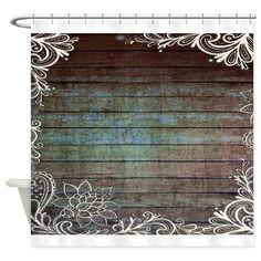 Modern Lace Woodgrain Country Decor Shower Curtain On CafePress.com