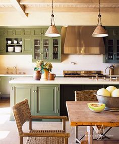 Kitchen with sage green cabinets -- interior design: Madeline Stuart -- photo: Dominique Vorillon