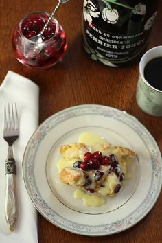 Cranberry and Croissant Bread Pudding with Champagne Zabaglione Sauce.     Right up there with my favorite desserts EVER!