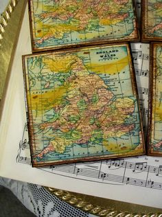 Map coasters old world map of australia stained antiqued map map coasters old world map of england wales gold stained antiqued map coaster set of gumiabroncs Gallery