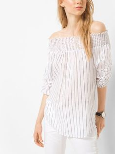 Michael Kors Striped Cotton Peekaboo Top: Capture the season's relaxed yet refined mood in our breezy peekaboo top.… #coupons #discounts
