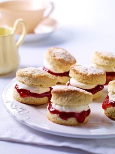 ❥ Mini Scones with clotted cream and strawberry jam <3
