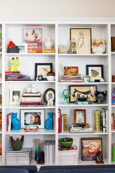 Get a Peek Inside Two Major Stylists' West Hollywood Homes Great shelf styling! Emily Current and Meritt Elliott West Hollywood Styling Bookshelves, Decorating Bookshelves, Bookshelf Design, Bookcases, Bookshelf Ideas, Home Fashion, Fashion Outfits, Decoration, Room Decor