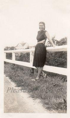 Vintage Photo ~  roadside beauty ~ girl next door snapshot