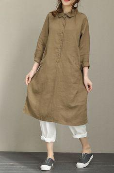 Dress shirts for women - Woman Loose Casual Cotton Linen Turn Down Collar Print Shirt Dress Linen Dresses, Casual Dresses, Dress Shirts For Women, Clothes For Women, Plus Size Shirt Dress, Mode Cool, Moda Casual, Loose Shirts, Linen Shirts