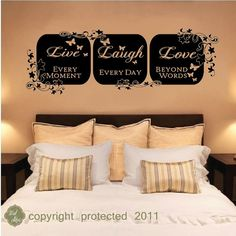vinyl wall decal sticker - Live Laugh love wall art home decor (Deanna) Love Wall Art, Wall Decal Sticker, Vinyl Wall Decals, 3d Wall, Candle Wall Decor, Live Laugh Love, My Room, Bedroom Decor, Master Bedroom