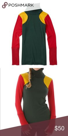 """L.A.M.B. x Burton """"Natty"""" turtleneck in Rasta LAMB x Burton Snowboards collaboration, season 2. Ski / snowboard turtleneck sweater in red green and yellow (RASTA). Finger holes and gold over neck. Brand new with tags! Never been used! Perfect for winter L.A.M.B. Sweaters Cowl & Turtlenecks"""