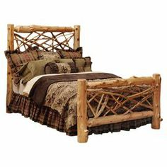 Rustic bed crafted from hand-peeled white cedar logs. Made in the USA.   Product: BedConstruction Material: White cedar logsColor: NaturalFeatures:  Individually handcraftedMade in the USA