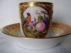 Rare Charming Cup Set in Paris Porcelain Beginning XIX th century from the Ruby Lane shop  SL Beaux Marchés.