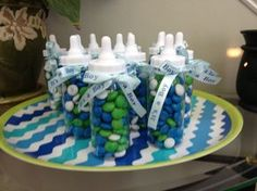 Baby Shower Party Favors - Blue and Green - Could be used as game gifts Fiesta Baby Shower, Fun Baby Shower Games, Baby Shower Party Favors, Baby Shower Cakes, Baby Shower Parties, Baby Boy Shower, Imprimibles Baby Shower, Baby Shower Invitaciones, Free Baby Shower Printables