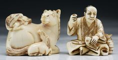 """Two (2) Antique Carved Ivory Netsuke Size: L: 1-3/4"""" (biggest)"""