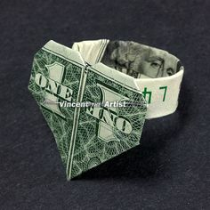 Dollar Bill Origami HEART RING